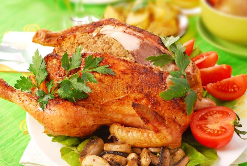 Pollo arrostito farcito con fegato fotografia stock