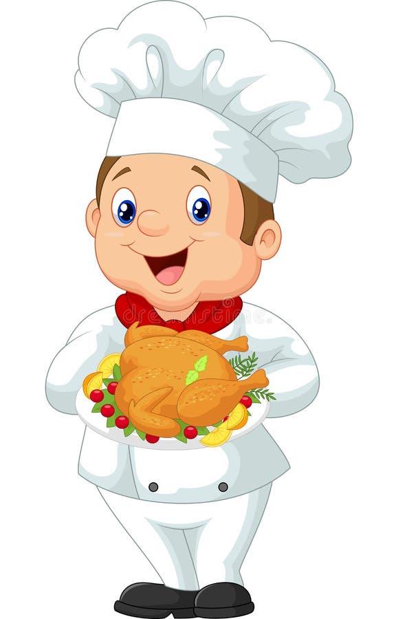 Pollo arrostito tenuta del fumetto del cuoco unico royalty illustrazione gratis