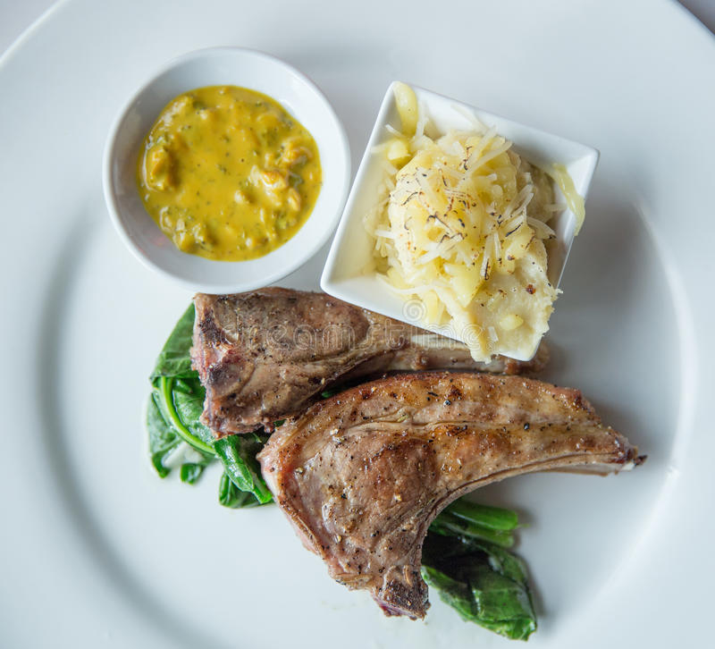 Pollo asado con el puré de patata y la salsa especial fotos de archivo