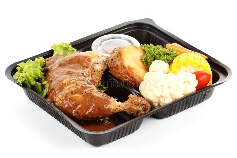 Pollo asado con la salsa de pimienta negra foto de archivo libre de regalías
