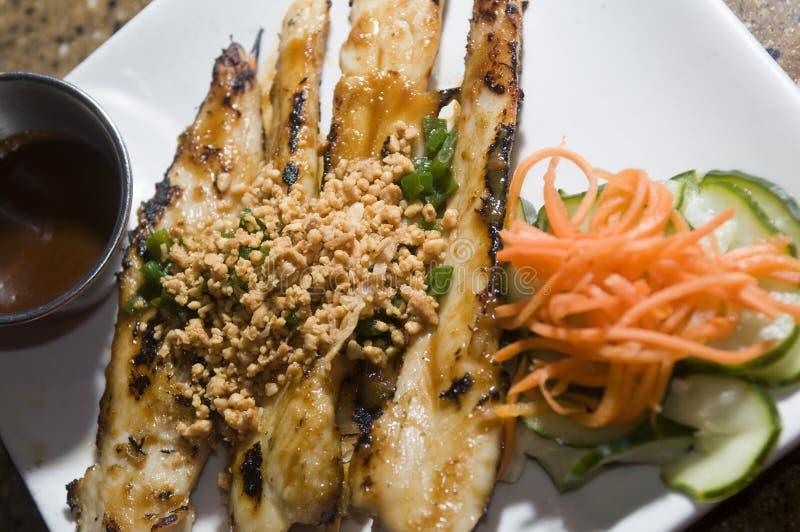 Pollo asado a la parilla aperitivo vietnamita del alimento fotografía de archivo