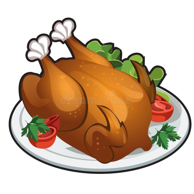 Pollo asado a la parrilla delicioso aislado en el fondo blanco Ejemplo del primer de la historieta del vector stock de ilustración