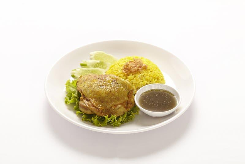 Pollo Biryani con chutney verde sul piatto bianco fotografia stock