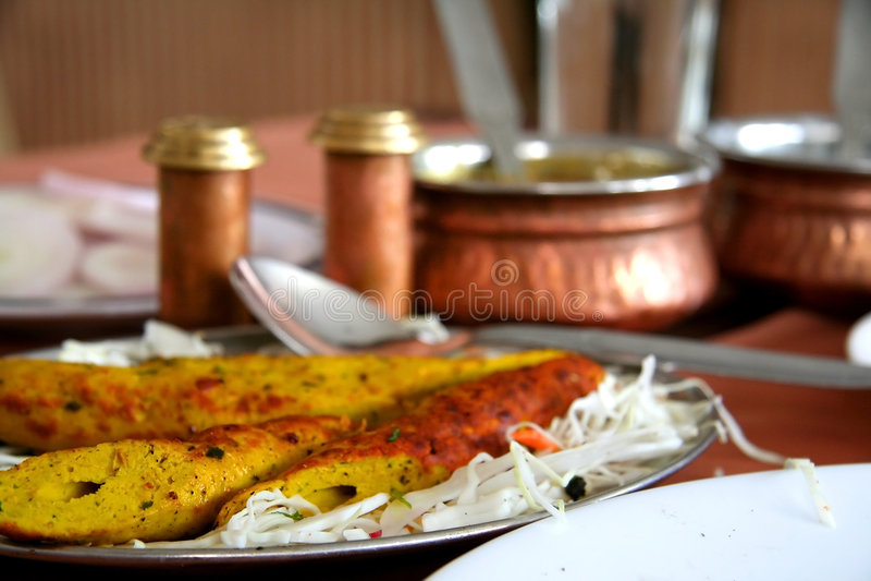 Pollo Biryani e Kebabs immagine stock libera da diritti