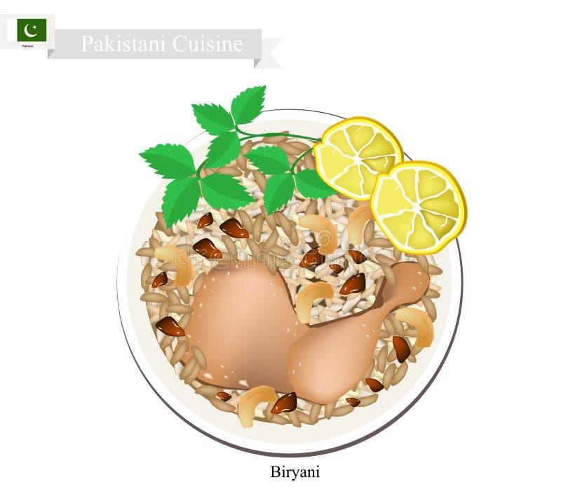 Pollo Biryani o pollo e riso aromatizzati pakistani illustrazione di stock