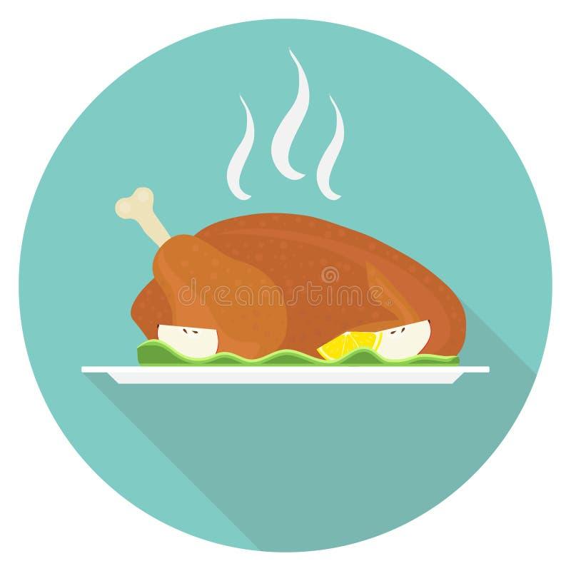 Pollo cocido en una bandeja Pollo cocido fragante con las verduras Pollo cocinado en una bandeja con una sombra libre illustration