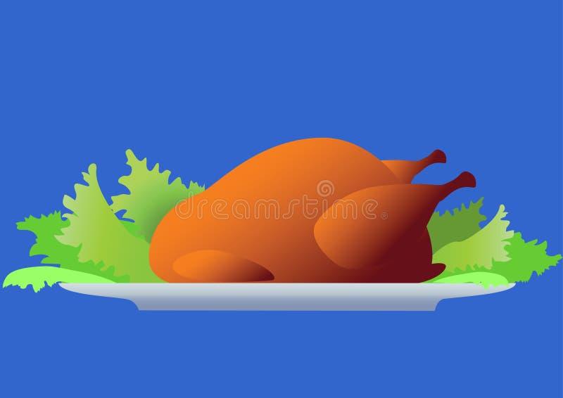 Pollo con insalata. royalty illustrazione gratis