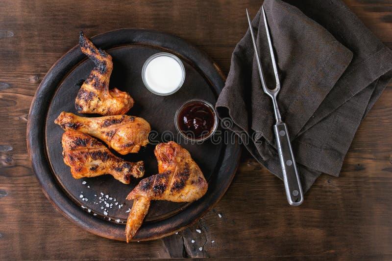 Pollo cotto del BBQ fotografie stock libere da diritti