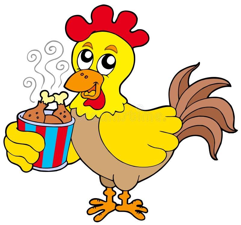 Pollo de la historieta con el rectángulo de la comida libre illustration