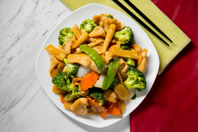 Pollo de Yu-Shiang con la salsa de ajo fotografía de archivo libre de regalías