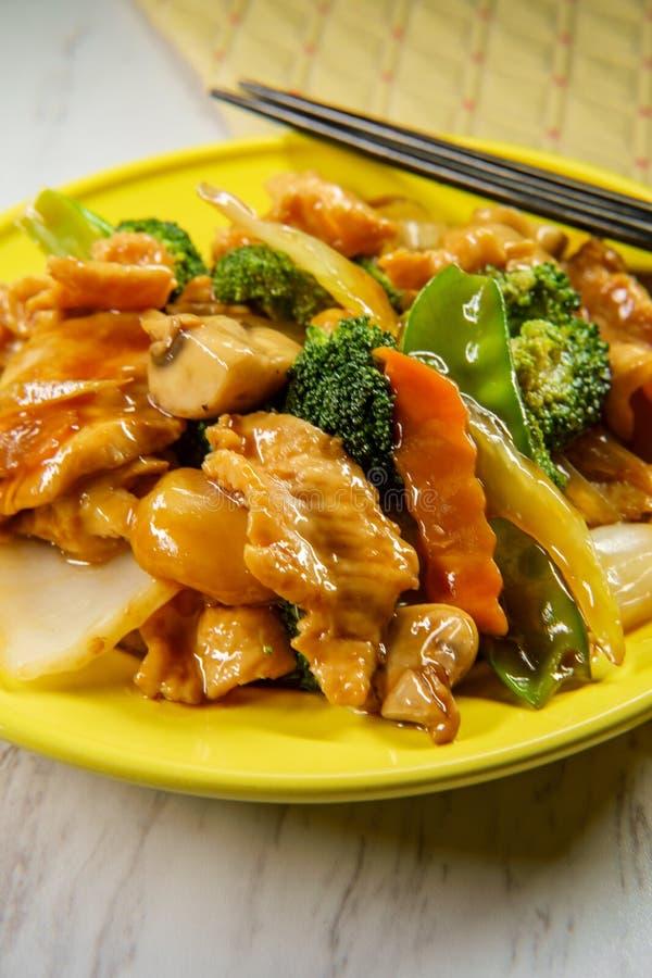 Pollo de Yu-Shiang con la salsa de ajo fotografía de archivo