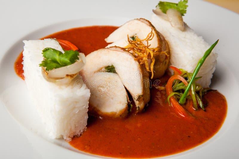 Pollo dei peperoncini rossi caldo e delizioso immagini stock libere da diritti