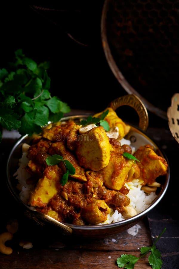 Pollo del curry della zucca sopra il riso dell'anacardio fotografie stock libere da diritti