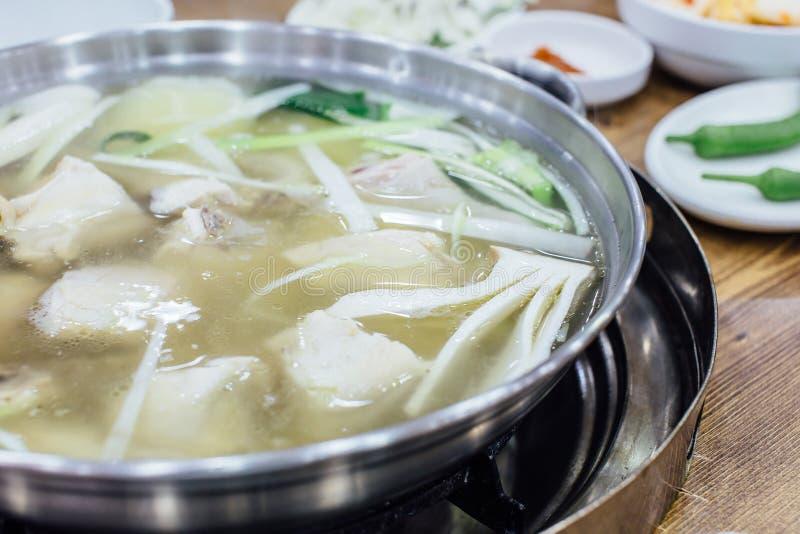 Pollo del estilo de Corea en sopa imagen de archivo