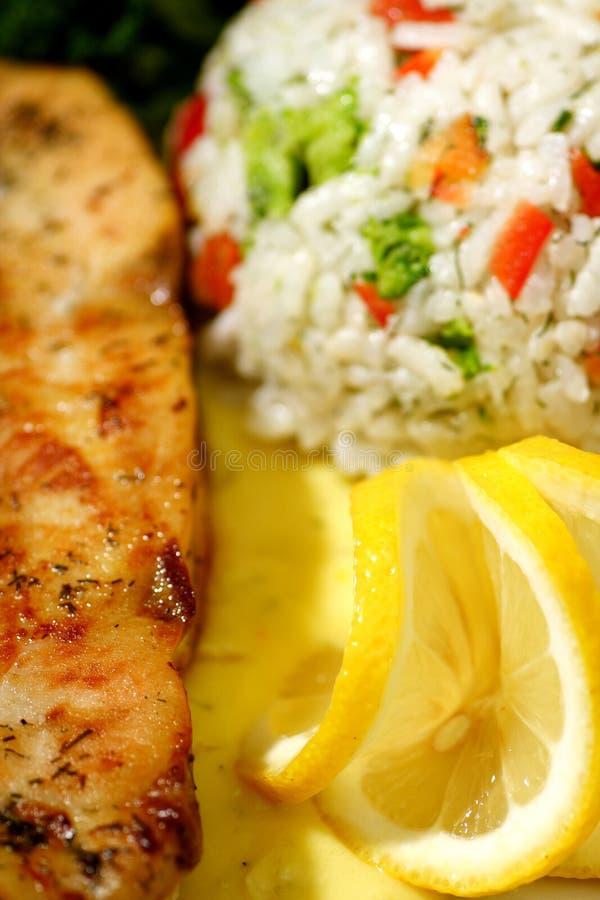 Pollo del limone con riso immagine stock libera da diritti
