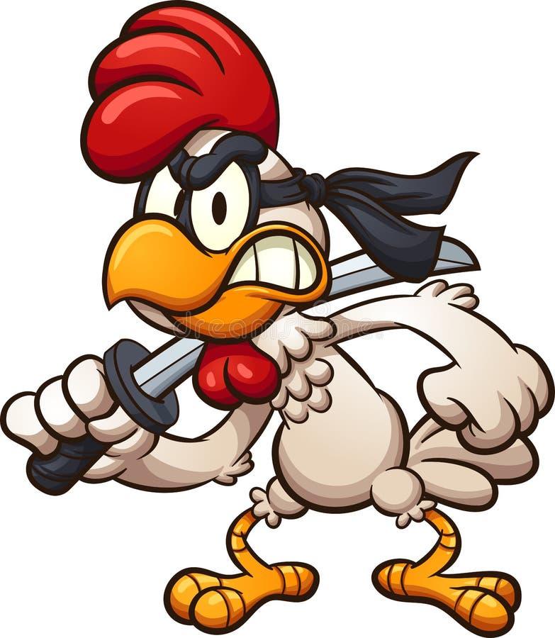 Pollo del ninja de la historieta con la espada ilustración del vector