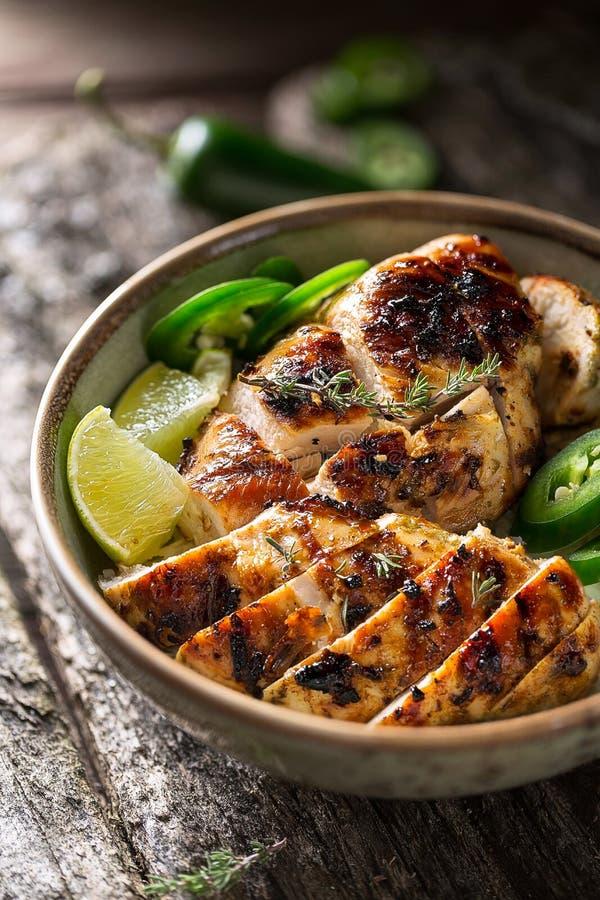 Pollo del tirón, una comida jamaicana imagen de archivo