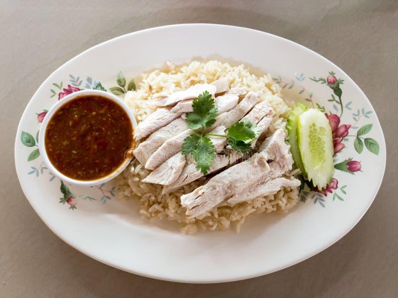 Pollo del vapor con el pollo de Hainan del arroz imagenes de archivo