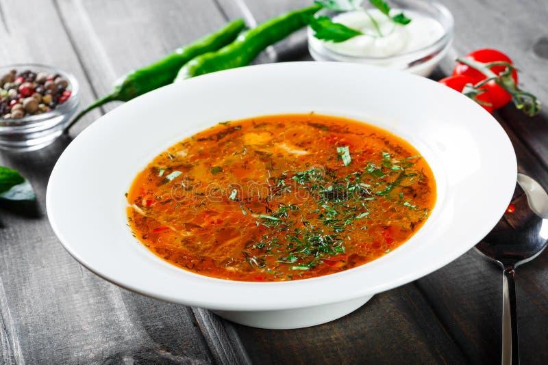 Pollo della minestra - brodo con le tagliatelle, le erbe, il pepe e le verdure sul piatto su fondo di legno scuro Alimento casali fotografie stock libere da diritti