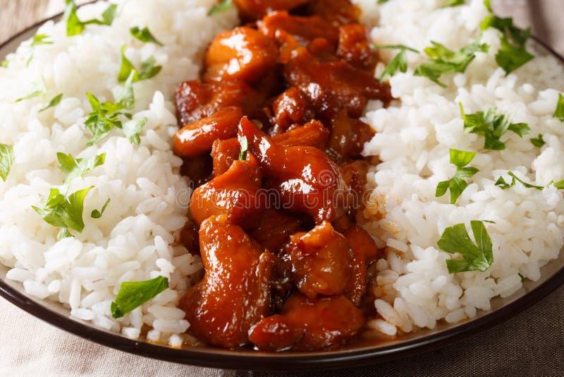 Pollo di Bourbon con il contorno del primo piano del riso orizzontale immagini stock libere da diritti