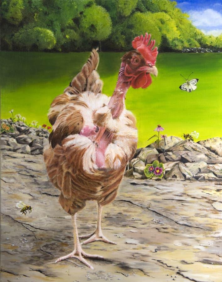 Pollo di verniciatura all'aperto con il collo del balkd fotografia stock libera da diritti