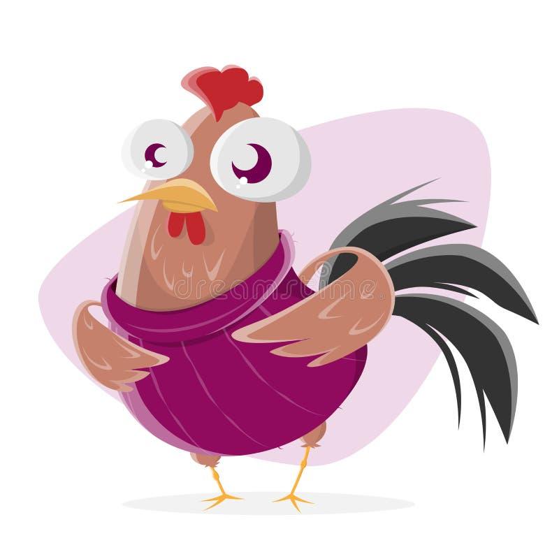 Pollo divertido de la historieta con el suéter ilustración del vector