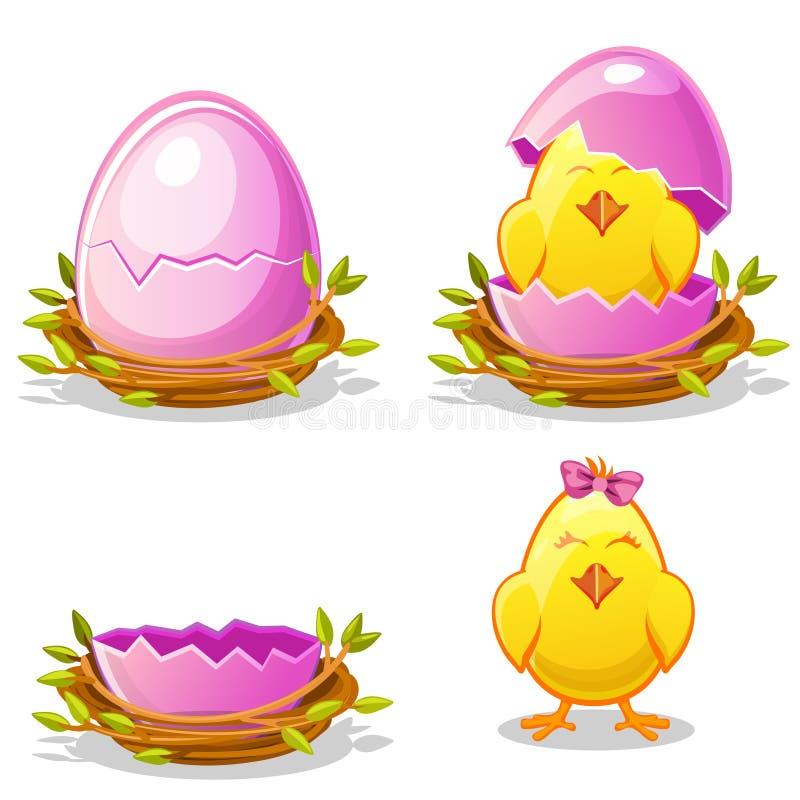 Pollo divertido de la historieta y huevo rosado en una jerarquía libre illustration