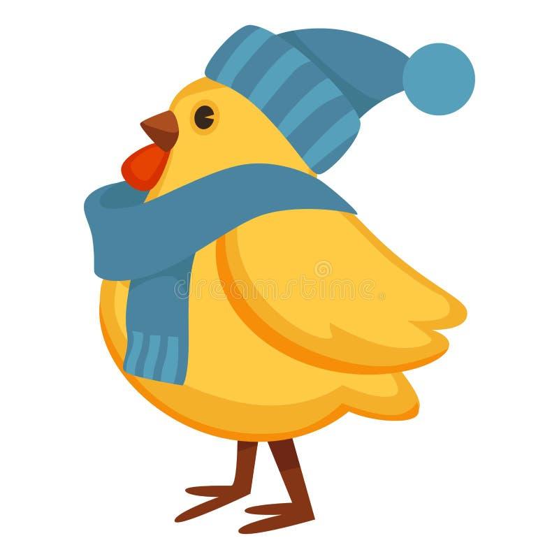 Pollo divertido en sombrero y bufanda hechos punto calientes ilustración del vector