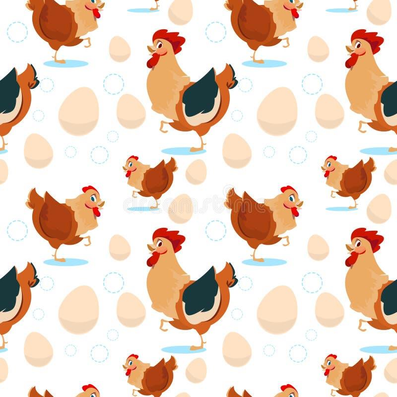 Pollo e gallo che coltivano modello senza cuciture royalty illustrazione gratis
