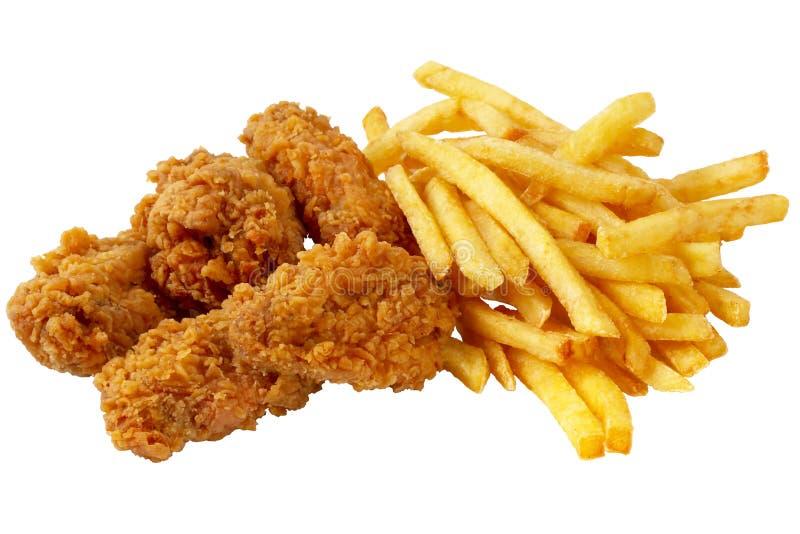 Pollo e patate fritte immagini stock libere da diritti