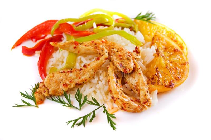 Pollo e riso piccanti asiatici fotografia stock