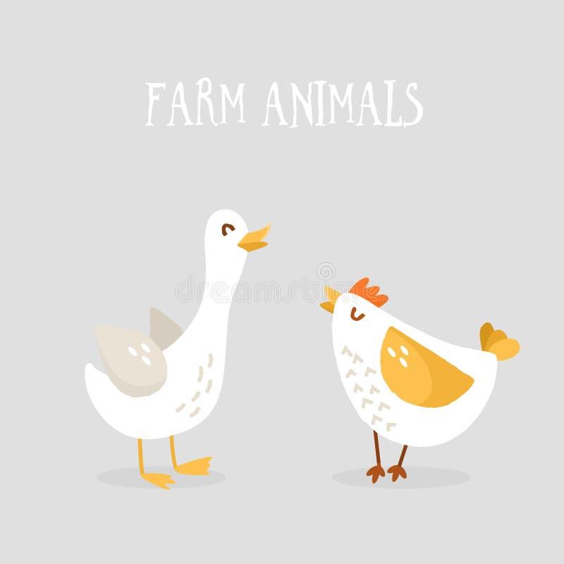 Pollo ed oca svegli del fumetto su fondo grigio Animali da allevamento Progettazione piana Vettore illustrazione di stock