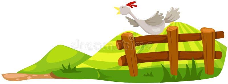 Pollo en la cerca ilustración del vector