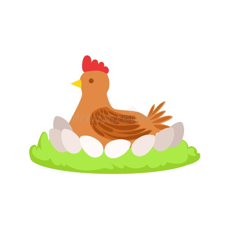 Pollo en remiendo relacionado del elemento de la granja de la historieta de la jerarquía de la hierba verde stock de ilustración