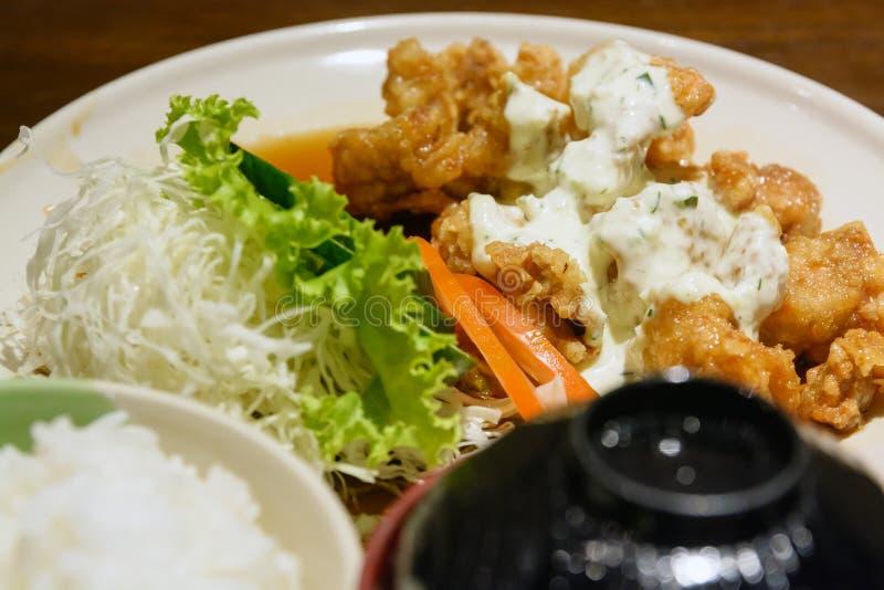 Pollo frito del japonés con arroz fotografía de archivo libre de regalías