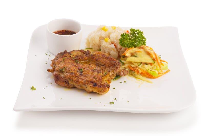 Pollo frito picante tailandés fotos de archivo