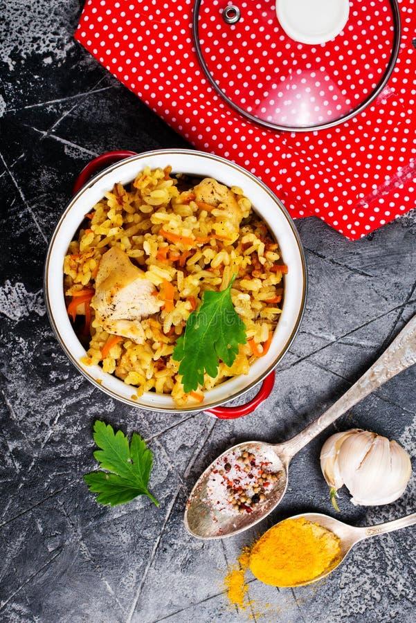Pollo fritto con riso fotografie stock libere da diritti