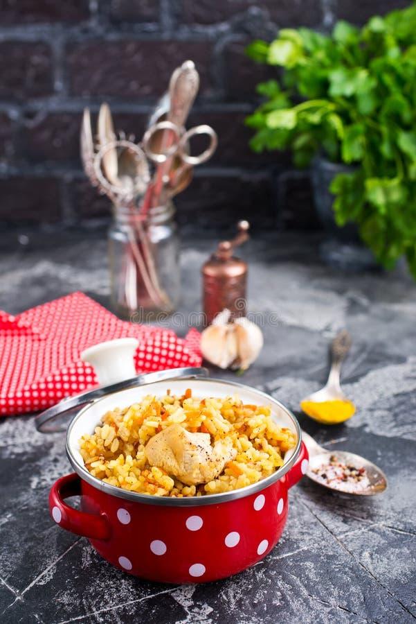 Pollo fritto con riso immagine stock libera da diritti