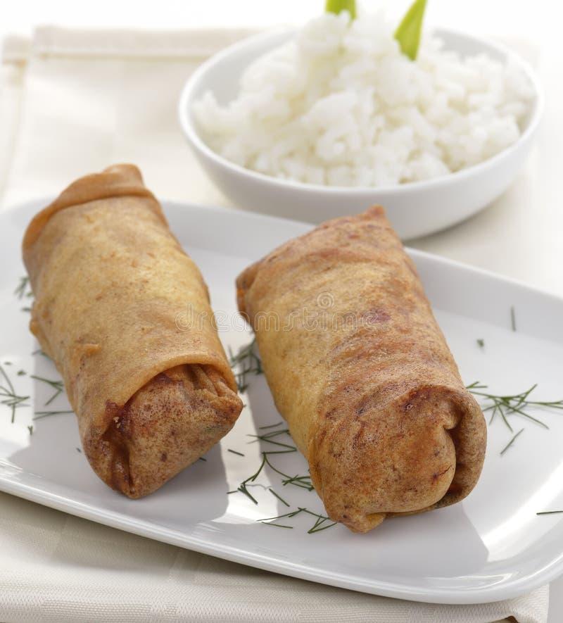 Pollo fritto Rolls immagine stock libera da diritti