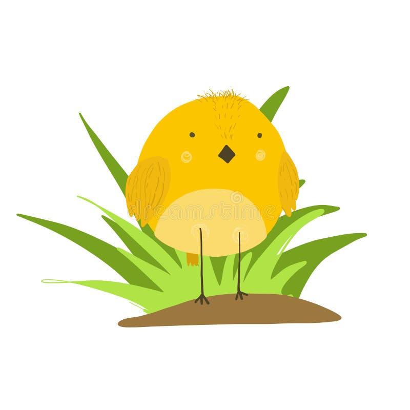 Pollo giallo del fumetto sveglio nell'illustrazione dell'erba illustrazione vettoriale