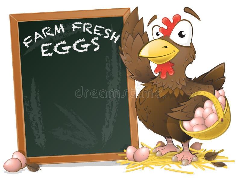 Pollo lindo con el tablero de la muestra ilustración del vector
