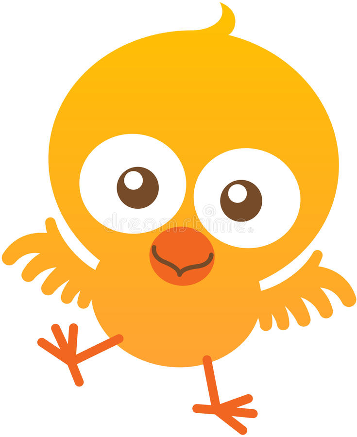 Pollo lindo del bebé que agita y que sonríe entusiasta libre illustration
