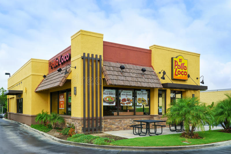 Pollo Loco Restaurant. COSTA MESA, CA/USA - OCTOBER 17, 2015: El Pollo Loco restaurant exterior and sign. El Pollo Loco is a restaurant chain based in the United royalty free stock images