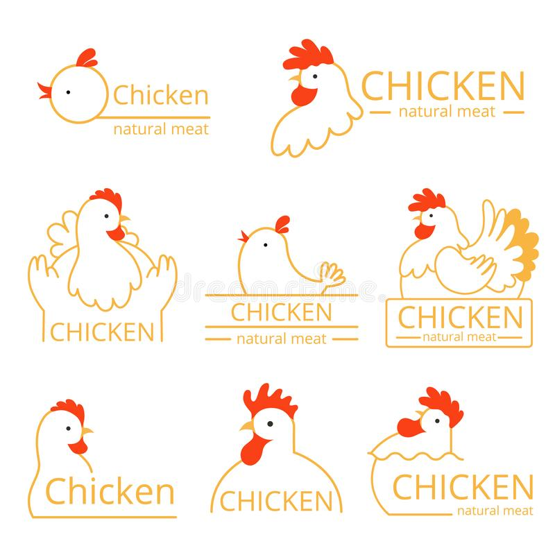 Pollo logo. Design template of identity pictures with farm birds chickens and roosters vector food logotype vector illustration