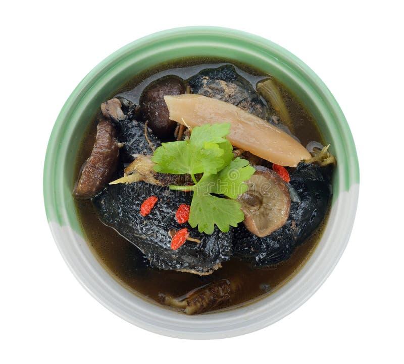Pollo nero stufato con le erbe cinesi fotografia stock