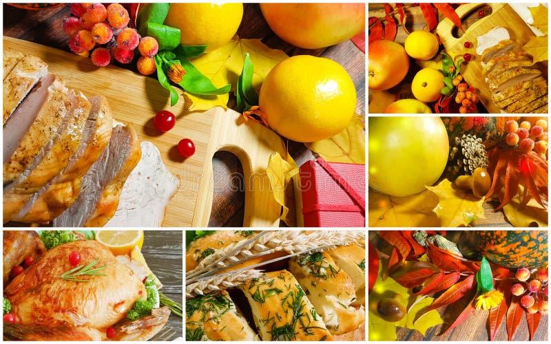 Pollo, pavo, collage del otoño, manzana, calabaza, pan fotografía de archivo libre de regalías