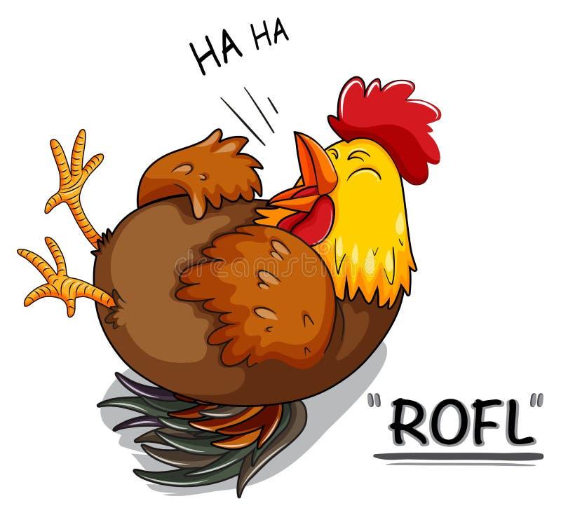 Pollo que ríe en blanco ilustración del vector