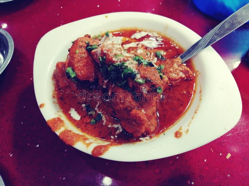 Pollo ristorante locale molto testato Cury yummy piccante fotografia stock
