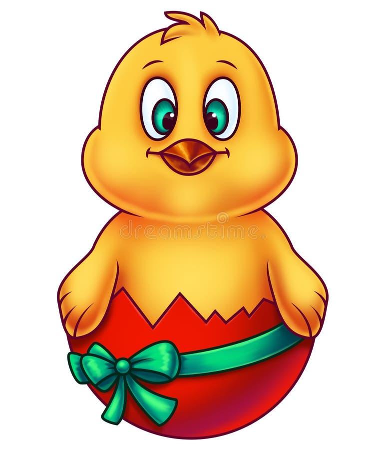 Pollo rosado de Pascua en el huevo cáscara stock de ilustración