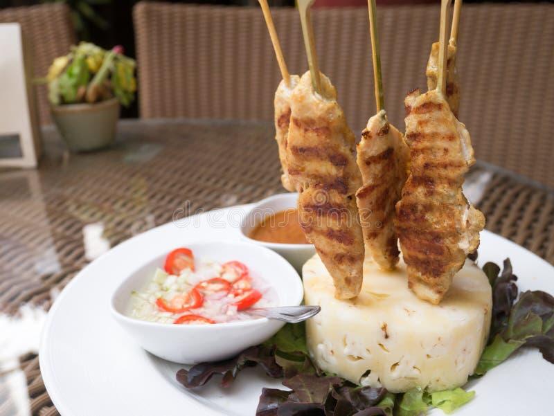 Pollo Satay o kebab del pollo fotografia stock